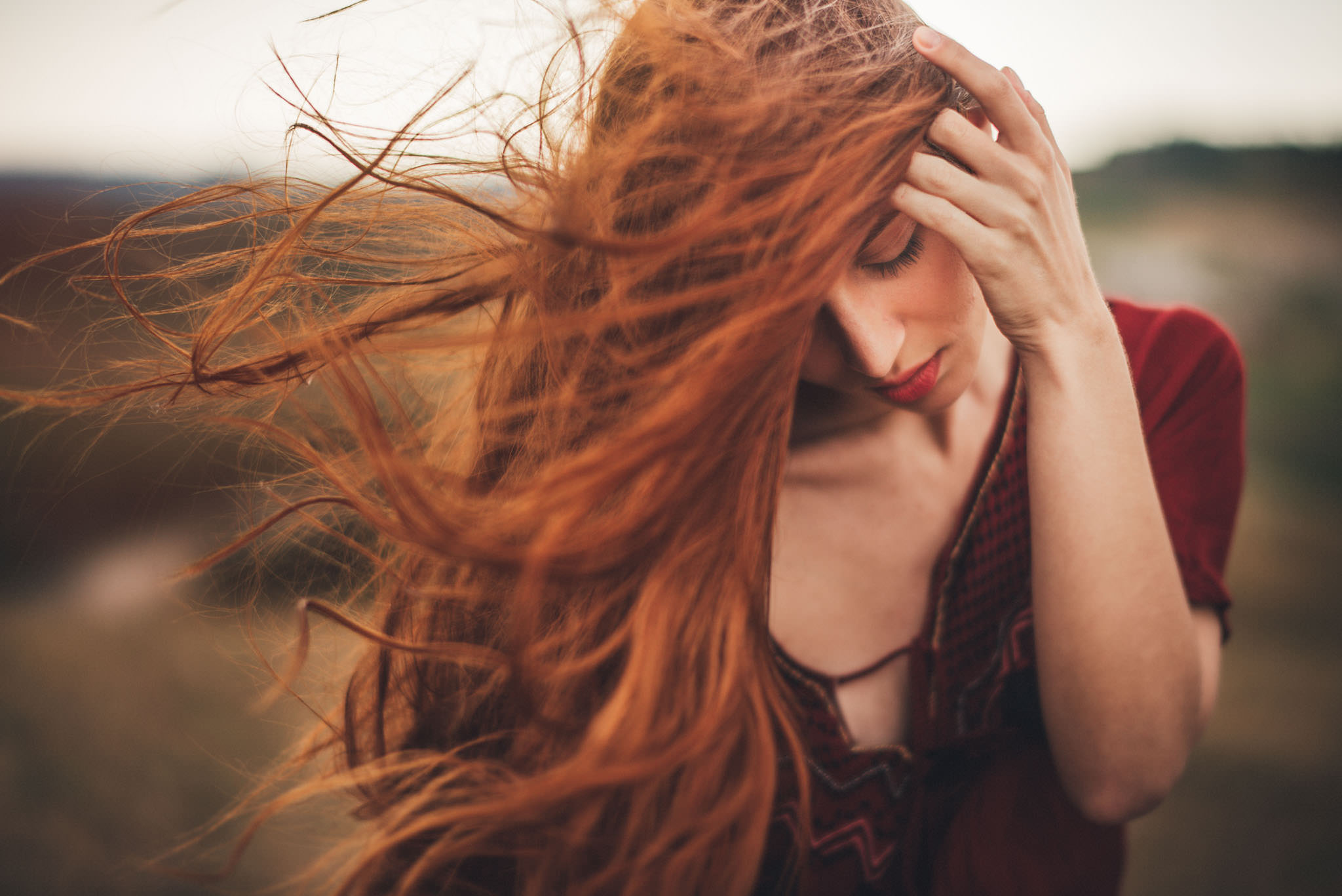emotional portrait photography feeling wind freedom