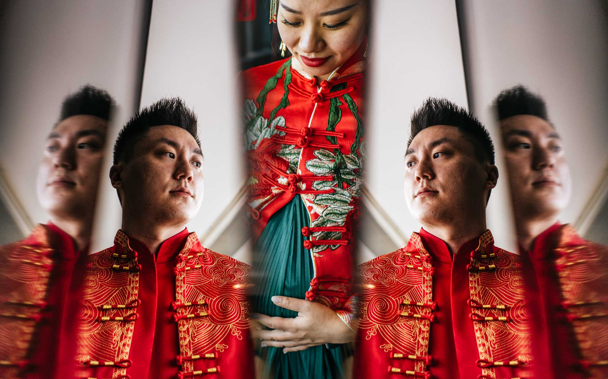 Creative portrait bride and groom wedding Sofitel Guiyang Hunter