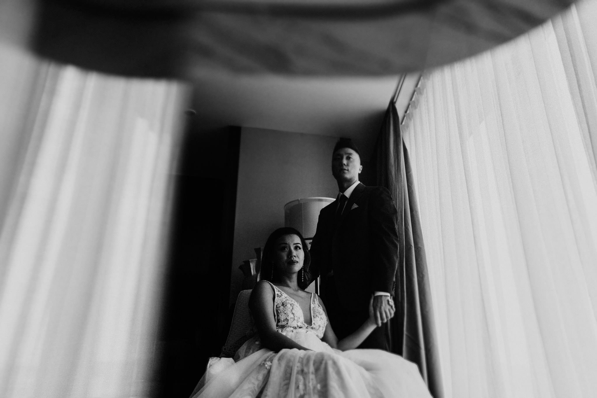 Portrait bride and groom Sofitel Guiyang Hunter china creative wedding
